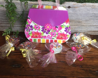 Purse Shaped Gift box filled with Gourmet Chocolate Desserts -Mother's Day Gift