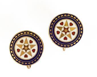 Enamel Disk Earrings