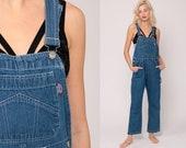 Overalls Pants Bib 90s Denim Pants Jean Dungarees Wide Leg Baggy Coveralls Long Grunge Hipster Blue Carpenter Medium