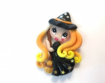 Cute Witch Clay Needle Minder