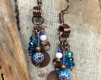 Boho Dangle Earrings Blues Antique Copper Wire Wrapped Handmade Earrings  1.99 Shipping USA