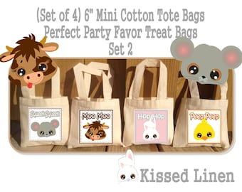Barnyard Farm Animals Faces Party School Field Trip Treat Favor Gift Bags Small Mini Cotton Totes Kids Children Bags - Sets of 4 or 8