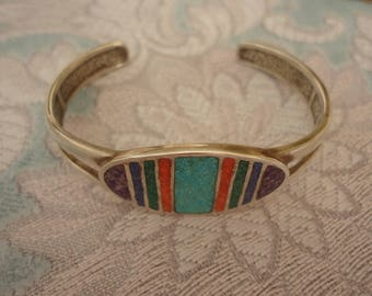 "Vintage Coleman Heavy Sterling Silver and Inlaid Multi Stone Cuff Bracelet, 7 1/2"", Estate Find, 28 Grams"