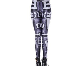Gray letters print leggings