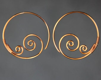 Spiral earrings, hoop earrings, dangle earrings, copper, handmade jewelry, Free US shipping, bridal gifts, anniversary gifts, Gift for her