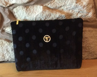 Black Spot Velvet with Vintage Cherub Ultra Glamorous Wash Bag