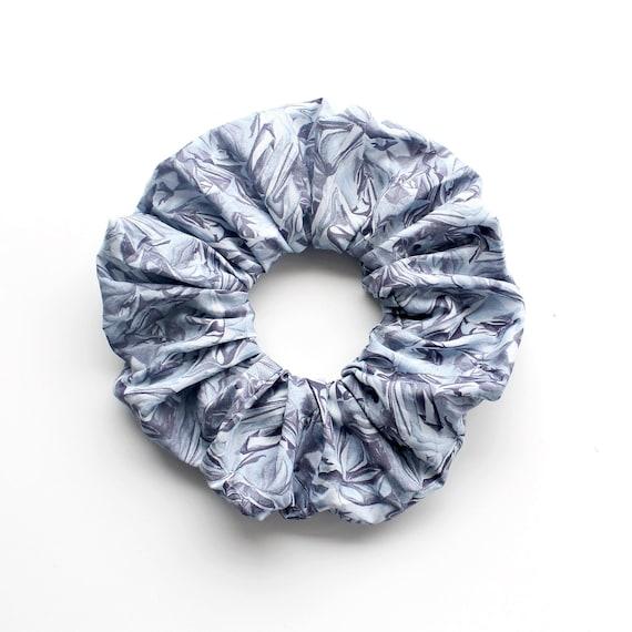 FOIL . Large grey scrunched foil effect Scrunchy or Scrunchie. Women Hair Accessories. Retro Accessory.