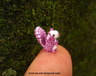 Sweet Tiny Squirrel - Micro Crochet Small Amigurumi Animals - Made to Order