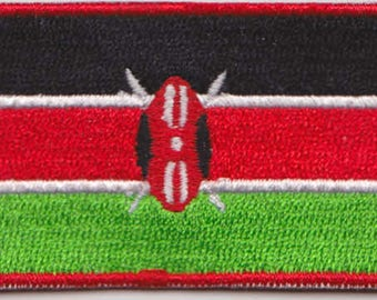 Flag of Kenya Iron On Patch 2.5 x 1.5 inch Free Shipping (Small)
