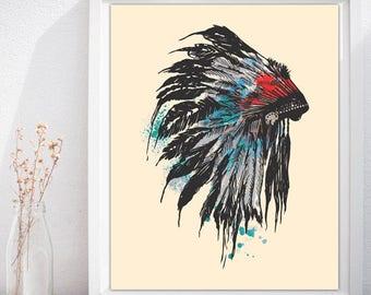 Native American, Native American Headdress Art, Indian Wall Decor, Native American Print Head, Native American Headdress - INSTANT DOWNLOAD