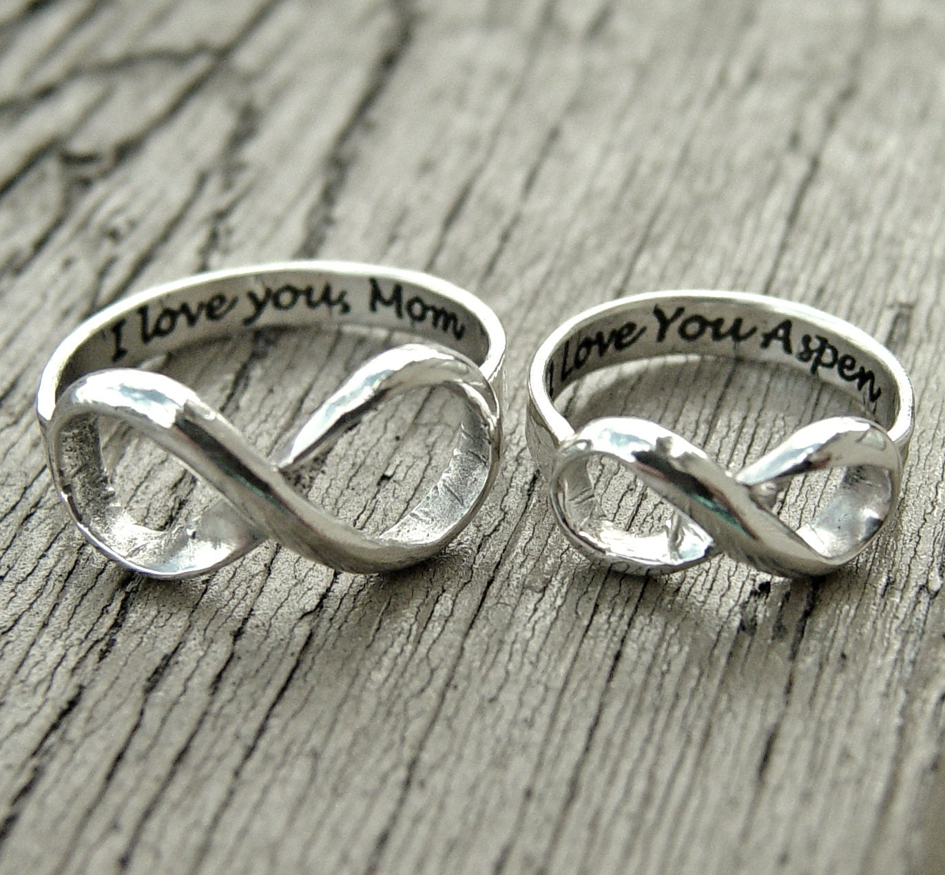 Infinity Love Quotes Infinity Ring Engraved Silver Rings Custom Message Jewelry
