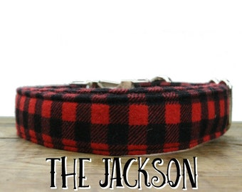 Dog Collar Buffalo Plaid, Plaid Christmas Dog Collars, Christmas Dog Collar, Holiday Dog Collars, Buffalo Plaid, Red Dog Collar, Dog Collar