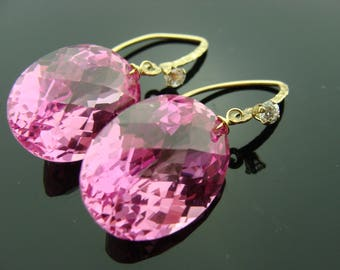 Amazing Pink Topaz Fancy Cut 14 K Gold Filled Earrings
