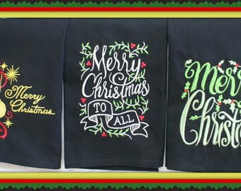 Christmas Chalk Look  Dish Towels (Embroidered)