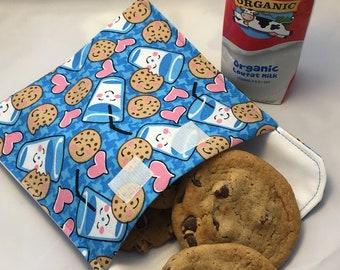 Milk & Cookies Reusable Sandwich Bag, Reusable Snack Bag