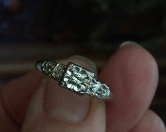 SOLD White Gold Vintage Diamond Ring, Antique Deco White Engagement Ring, Size 8 Antique Wedding Ring 1940's
