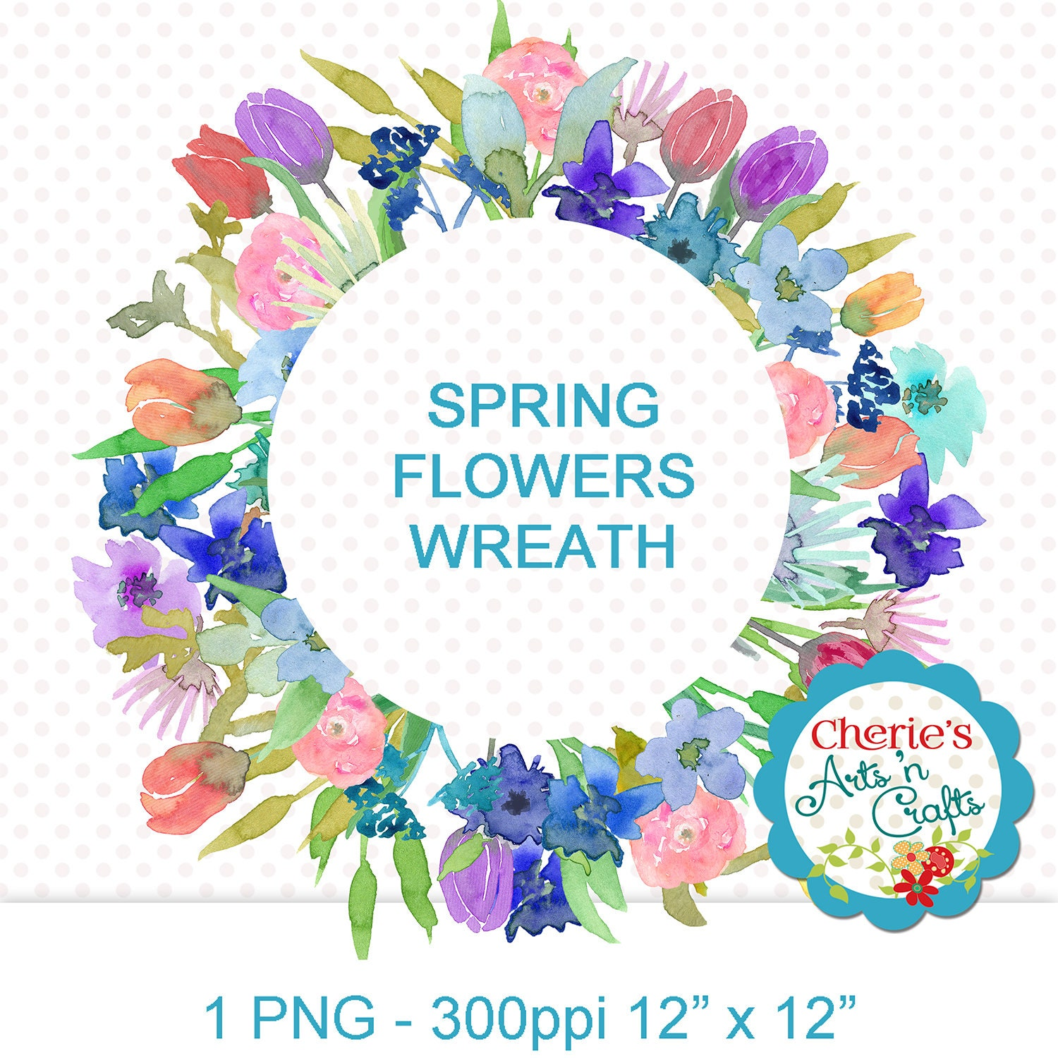 Watercolor Flowers Spring Wreath PNG Clip Art Designer