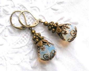 victorian earrings opal earrings victorian dangle earrings brass filigree earrings vintage style earrings