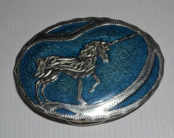 Vintage Silver Tone and Blue Guilloche Enamel Unicorn Belt Buckle