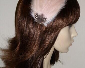 Whisper Pink Pale Light Feather Fascinator HAIR CLIP Bridesmaids Hair Accessory Handmade Wedding 'Gwen'