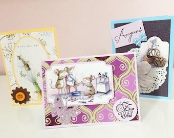 Set no. 3 greeting cards mice
