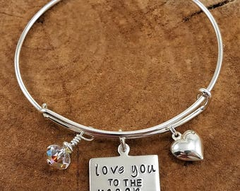 Love You to the Moon & Back Wire Wrap Bracelet w/Swarovski Crystal and Puffy Heart; Hand-Stamped, Sterling Silver