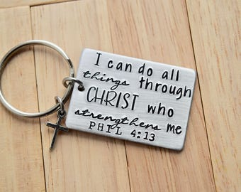 I Can Do All Things ~ Phil 4:13  Key Chain with Cross Charm~Light Weight Aluminum