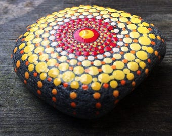 Mandala Stone handpainted