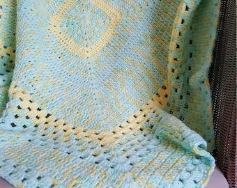 Handmade Crochet Baby Blanket, Crochet Afghan, Crochet Lap Blanket, Baby Shower, Baby Gift