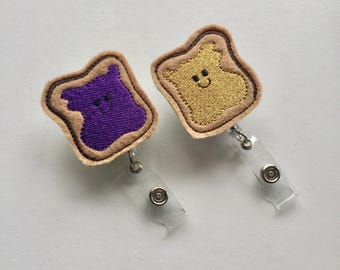 BFF Badge Reels, Best Friend Badge Clip, Coworker Badge Holder, Peanut Butter and Jelly Badge, Foodie Badge Reel, Gift for Nurse Friend