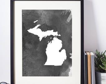 Home Decor, Wall Art, Watercolor, Michigan Black and White Art Print, Michigan Wall Decor,   Digital Download, Modern Art
