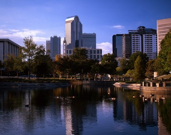 Set of 2, Skylines, Charlotte NC, 1981 and 2006