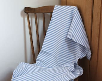 Vintage French blue and white striped bolster pillow cover