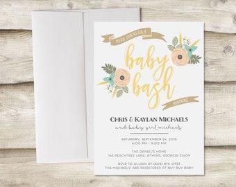 Baby Bash Invitation, Baby Shower Invitation, Couples Baby Shower Invitation, Couples Baby Sprinkle Invitation, Gender Neutral Baby Shower