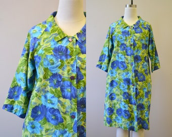 1950s Lounge Craft Floral Cotton Housecoat