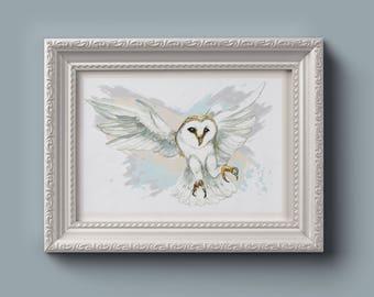 Watercolor Barn Owl Print Digital Download