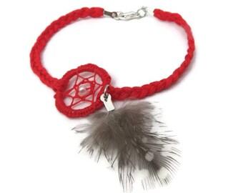 Bracelet red dream catcher , Bohemian , Indian , with pen