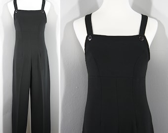 1990s Black Overalls Style Jumpsuit by Street Code, Extra Small to Small | 90s Vintage Black Knit Pantsuit (XS, S, 34-28-36)