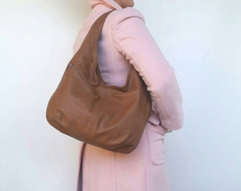 Brown Leather Slouchy Hobo Bag with Outside Pockets, Casual Women Purse, Handmade Shoulder Handbags, Alicia