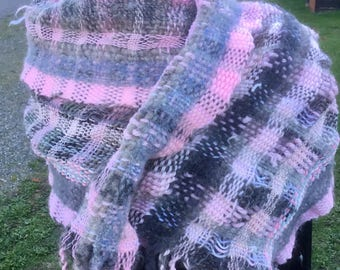 Fifty-Two, a Short Wrap in pinks and greys handwoven and felted by me