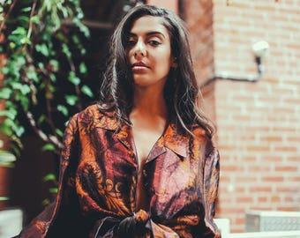 ALIA Vintage Womens Top O/S Shiny Blouse