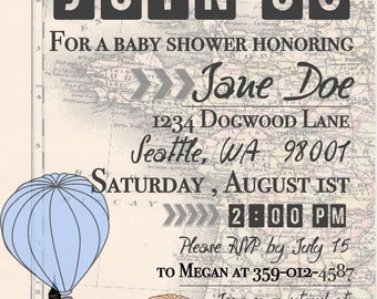 Personalized Travel Theme Baby Shower Invite - Digital Download