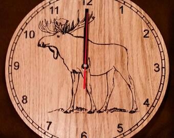 Engraved Moose Clock