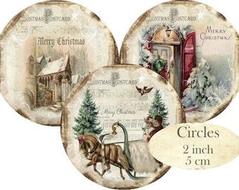 Christmas Circles 2 inch Instant Download digital collage sheet Noel Church House C268