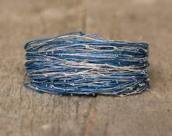 Multistrand Blue Beige Bracelet, Magnetic Cuff for Women, Fiber Bracelet in Blue, Seed Bead Linen Thread Bracelet, Best Friend Gift, Spring