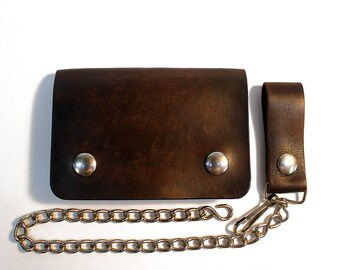 Brown biker wallet, chain wallet, mens leather wallet, small biker wallet, snap wallet, leather wallet, card wallet, bifold, Made in USA