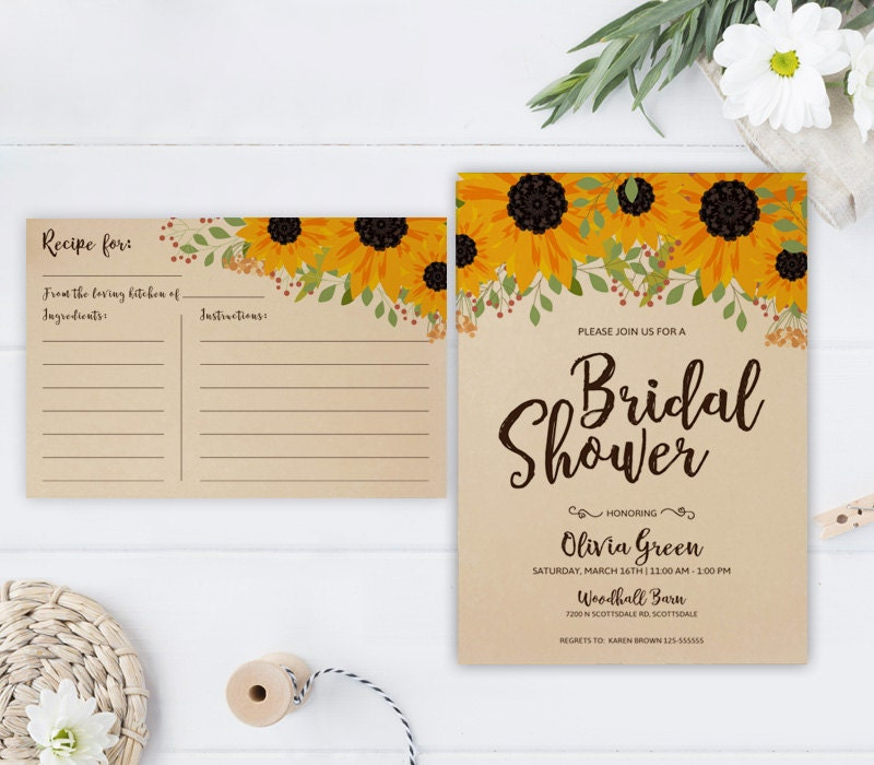 Sunflower Bridal Shower Invitation And Recipe Card Rustic