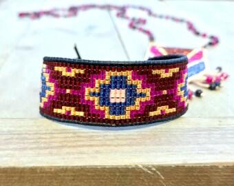 Maroon Navy Gold and Pink Southwestern Style Loom Beaded Bracelet, beaded friendship bracelet, gift for her, boho bracelet