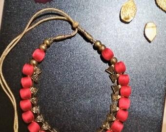Handmade Silk Thread Jewellery - chocker necklace in red