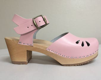 Baby Pink  Medium Heel Mary jane with buckle ankle strap and tear drop Cut outs